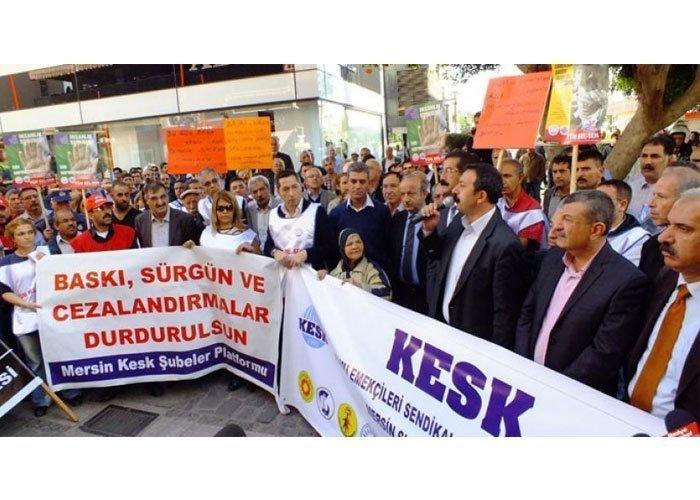 MERSİN BÜYÜKŞEHİR BELEDİYESİNDEKİ SÜRGÜNLERİ PROTESTO ETTİK